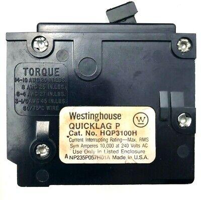 1 Westinghouse Quicklag Hqp3100h 3 Pole 100 Amp 240 Volt Circuit Breaker