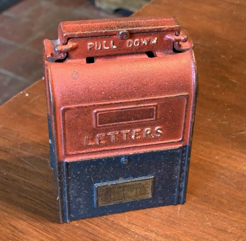 Antique or Vintage Cast Iron Mailbox Still Bank in Original Paint