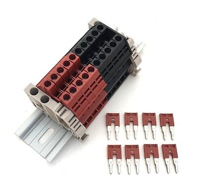 Assembly Kit Dk4n Redblack 10 Gang With Jumpers Din Rail Dinkle 10awg 30a 600v