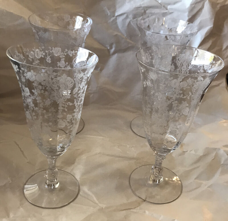 Set of 4 Cambridge Rose Point 7 3/8  Water Goblets Footed