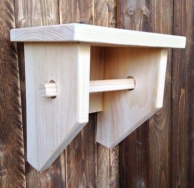 Primitive Country Handcrafted Unfinished Pine Wood Wall Toilet Paper Holder