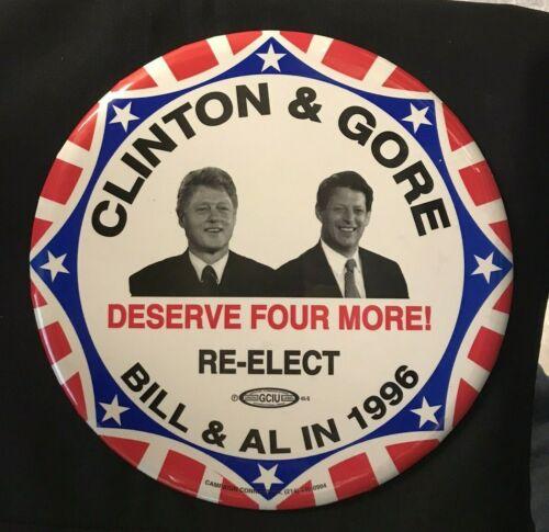 """Bill Clinton + Al Gore 1996 Campaign Giant 9"""" Pinback Button JH207"""