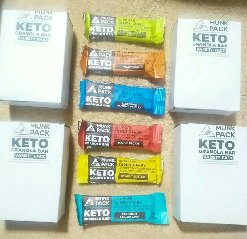 6 Boxes Munk Pack Keto Granola Bars Variety  6 Pack 36 Bars Total - 1.23 oz Bars