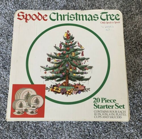 Spode Christmas Tree 20 Piece Starter Set w/ Dinner & Salad Plates, Cups Saucers