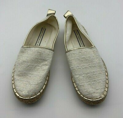 Used, Zara Trafaluc Women Canvas Shoes Sz 37 (US 6.5) Footwear Flat Slip On Off White for sale  Shipping to Nigeria