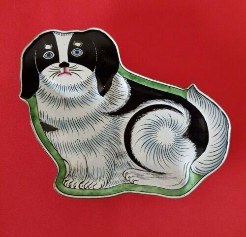 Great Vintage PEKINGESE DOG Enamel Decorative Pin Tray Holder