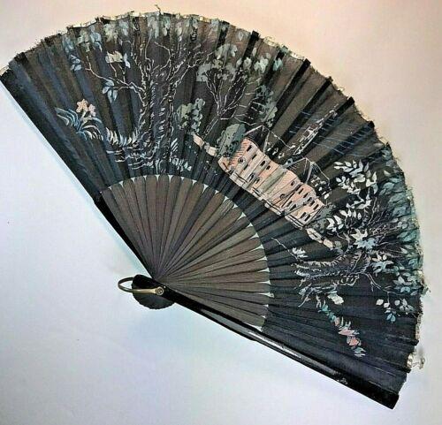 Vintage Japanese Hand Painted Folding Hand Fan ~ Japan 1950s ~ Black