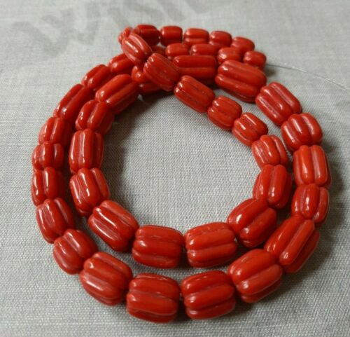 Natural Italian Mediterranean Melon Carved Precious Red Coral Beads,Loose Gems.