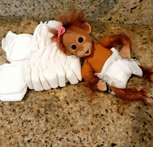 30 NANO size  diapers  PREEMIe MONKEYS OR DOLLS up to 2 pd - no doll includ