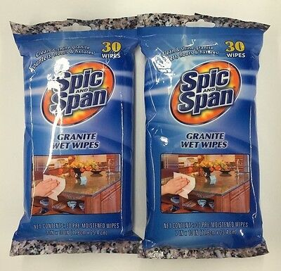Granite Wet Cleaning Wipes Spic and Span 30ct Lot of 2 (NEW)