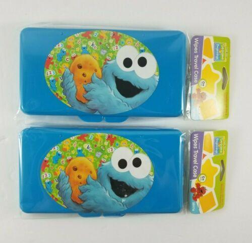 NEW x2 Sesame Street Beginnings Cookie Monster Wipes Plastic Travel Case Blue