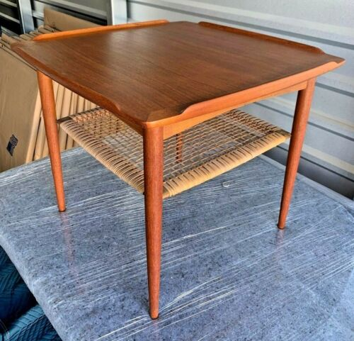 Mid-Century Danish Modern Poul Jensen Selig Teak Caned Square Side/Coffee Table