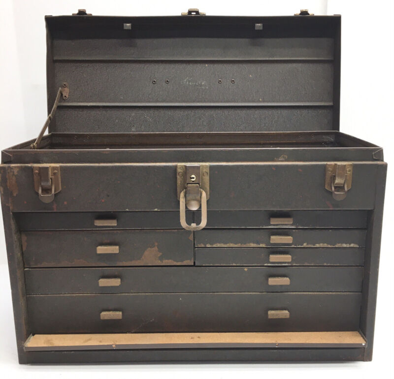 VINTAGE KENNEDY # 7 DRAWER MACHINIST TOOL BOX CHEST WITH KEY & CORK LINING