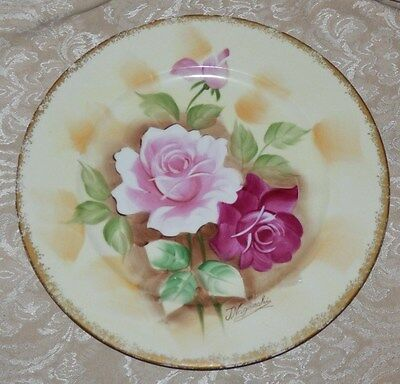 Vintage Hand Painted PLATE Signed T. Nagasaki Japan ROSES 10 1/2""