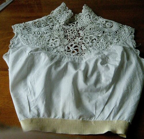 Antique  French muslin  &Irish Lace Corset Cover Camisole Lingerie Top #2