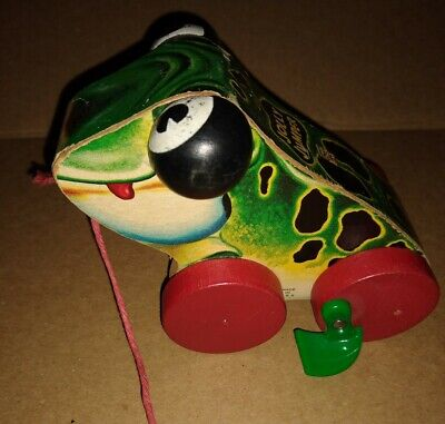 Fisher Price 1954-55 Wooden Pull Toy Frog Jolly Jumper #450