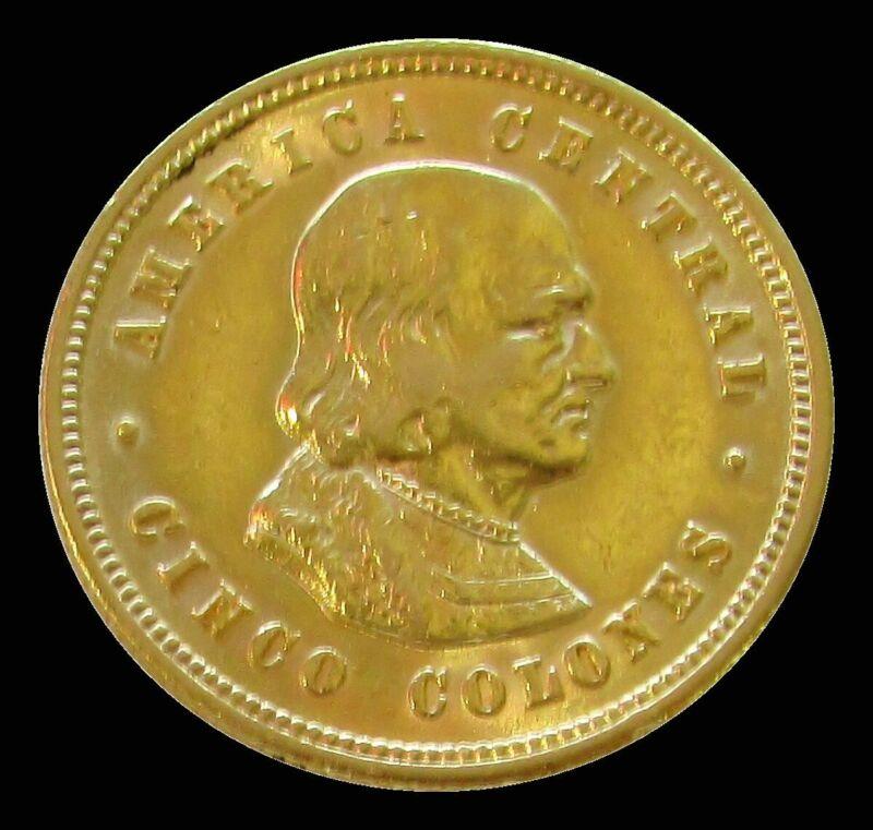 1899 GOLD COSTA RICA 5 COLONES COLOMBUS AU CONDITION