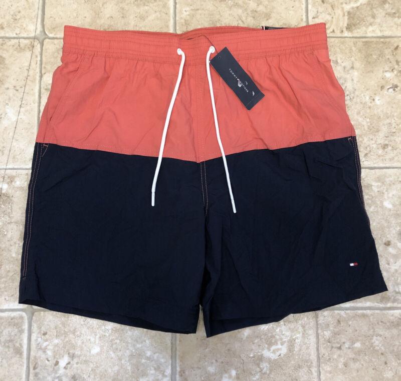 "NWT! Tommy Hilfiger Men's XL Swim Trunks Short Maillot 7"" Black Peach Colorblock"