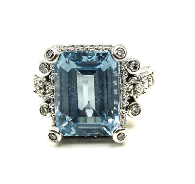 Judith Ripka Emerald Cut Big Blue Topaz with CZ Accents Sterling 925 Size 7