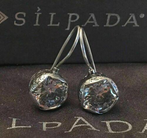 SILPADA Cinema Star Cubic Zirconia Sterling Silver Earrings W2393 CZ Hook Drop