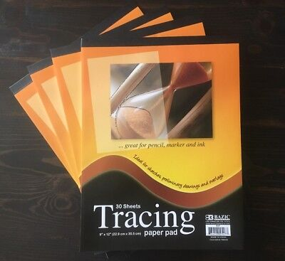"""4 Packs 9"""" x 12"""" Quality Tracing Paper Pad Sketches Book Preliminary 30 Sheets"""