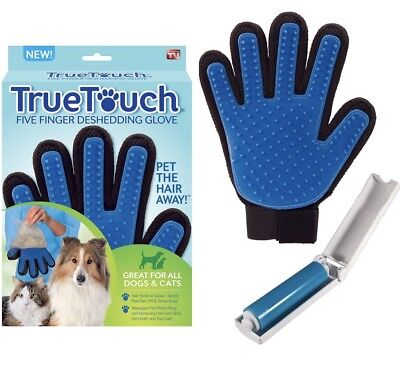 Pet Dog Cat Grooming Hair Remover Glove  Shedding Combing Massage & Lint Roller