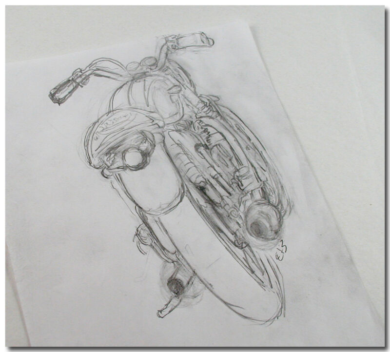 ORIGINAL ROUGH PECIL SKETCH DRAWING OF TRIUMPH MOTORCYCLE FROM AMATEUR ARTIST