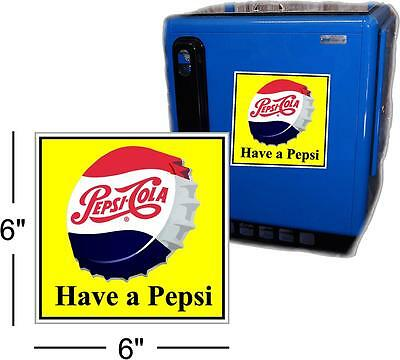 "6"" DRINK PEPSI CAP WITH YELLOW BACKGROUND FOR SODA POP VENDING MACHINE COOLER"