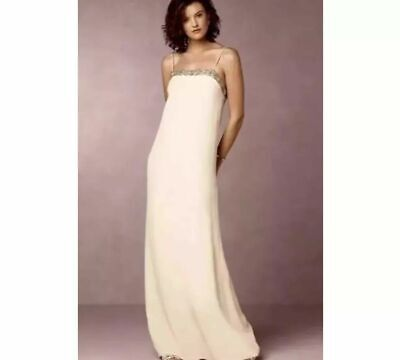 NWT $440.00 Intropia Grey Beaded Neckline Maxi Dress Sz.40 US.4