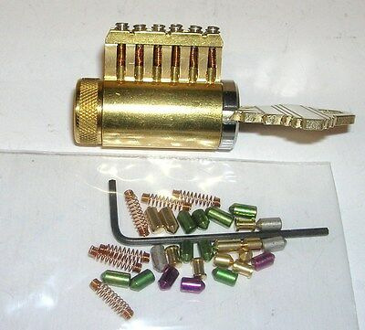 Cutaway Practice Lock With Removable Pins. Works With 1 Pin In Or All 6 Pins.