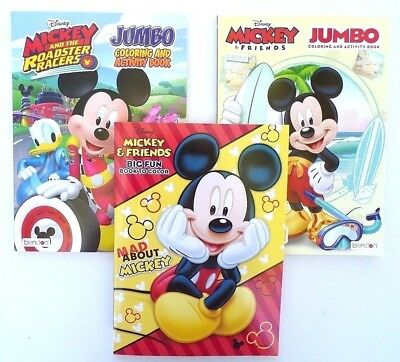 Children's Coloring Books (Lot of 3 MICKEY MOUSE Disney Jumbo Coloring and Activity Books, for)