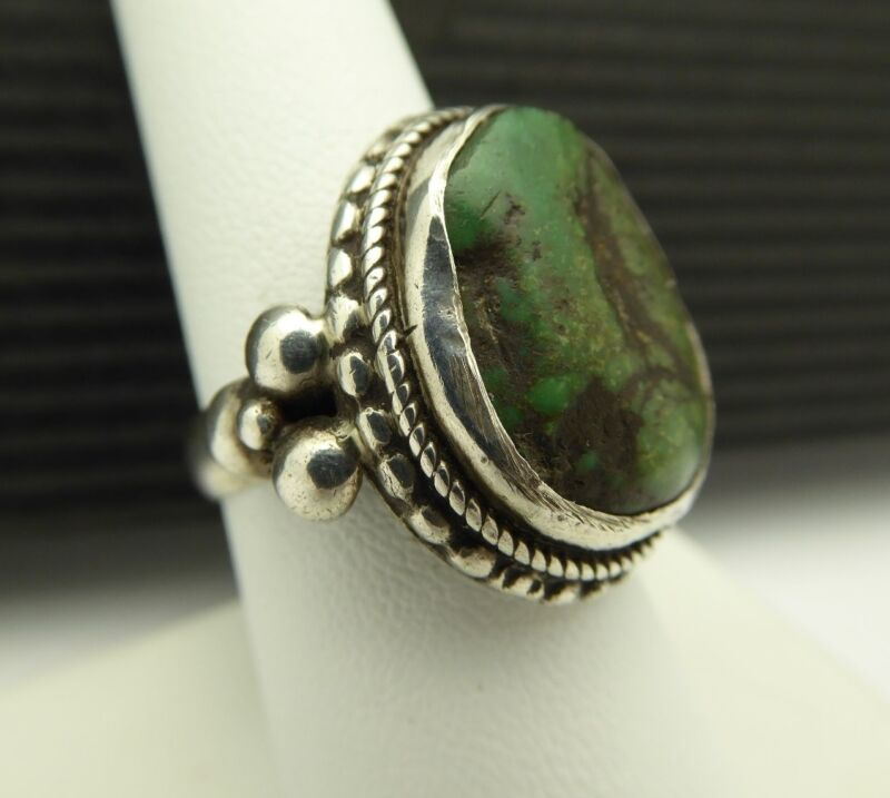 Vintage Authentic Original 925 Sterling Silver Tibetan Turquoise Ring Size 8 1/4