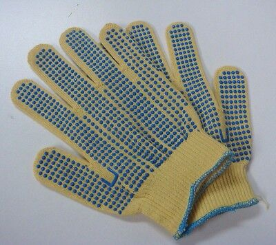 New Ansell 70-340 Kevlar Gloves Size Small Goldknit Blue Pvc Dots Both Sides