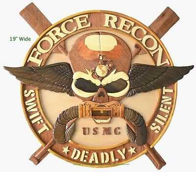 MARINE CORPS FORCE RECON (LARGE) - Handcrafted Wooden Military Plaques