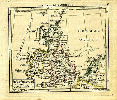 1761 Genuine Antique miniature map Great Britian, Ireland, British Isles. Dury