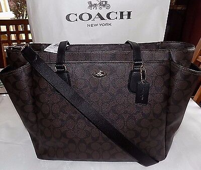 NWT Authentic COACH SIGNATURE MULTI-FUNCTION TOTE Diaper Baby Bag F35414 $495