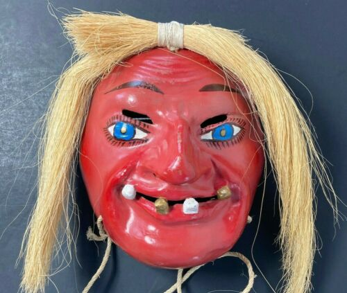 Scary Devil Clay Pottery Mask Fork Art Witch Doctor Wall Hanging Straw Hair