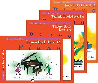 - Alfred's Basic Piano Course Level 1A - 4 Book Pack (Lesson/Theory/Recital/Tech)