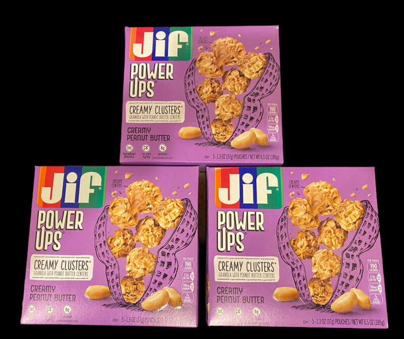 (3) JIF POWER UPS CREAMY CLUSTERS CREAMY PEANUT BUTTER BEST BY 4/22/2021