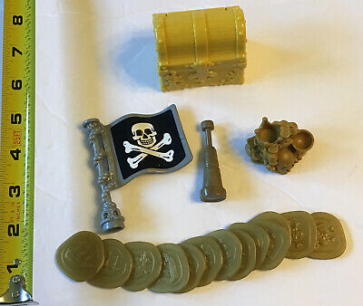 Fisher Price Imaginext Pirate Accessories Lot #4 Treasure Chest W/ Coins Flag ++