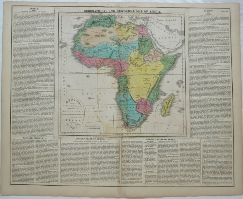 Original Hand Colored 1821 Map AFRICA Slave Trade Guinea Senegal Matthew Carey