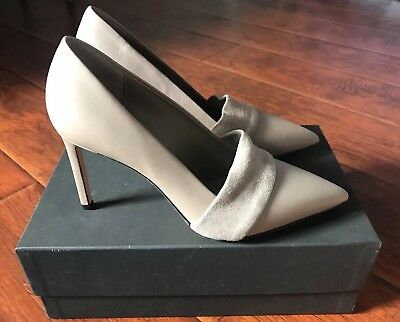 - NWB $395 Vince Carmel Taupe Beige Gray Leather Pumps Pointed Pointy Toe Heels 8