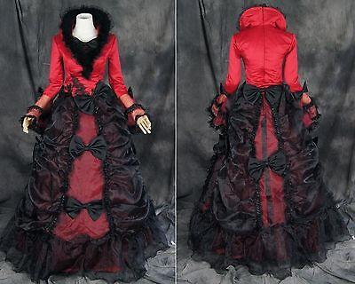 V-37 S/M/L/XL/XXL Victorian Gothic Lolita rot schwarz black Kostüm costume Kleid
