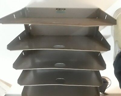 Vintage Lit-ning 5 Tray Slot Metal Steel Desk Paper File Organizer Storage