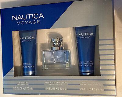Nautica Voyage Cologne Gift Set for Men Shower Gel After Shave EDT Spray NIB