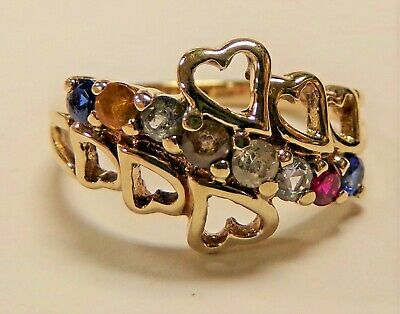 10k Yellow Gold 8 Stone Mother's Ring Sz 7.75 Ladie's Unique Heart Design AC TM  10k Gold Mothers Heart