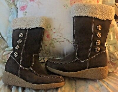 THOM MCAN KIDS GIRLS SIZE 1 YOUTH BROWN LEATHER BOOT WITH BUTTON TRIM FAUX FUR