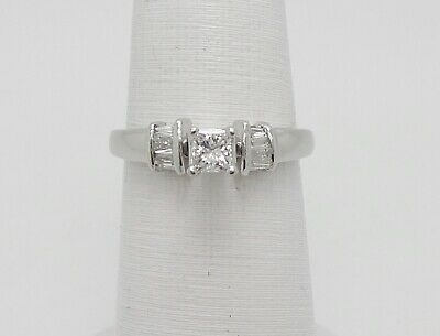 Zales 1/2CT Princess Diamond Solitaire Engagement Wedding Bridal Ring Platinum