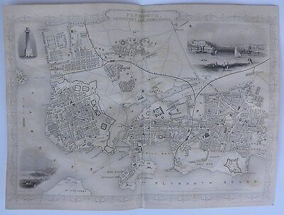 'PLYMOUTH, DEVONPORT and STONEHOUSE', Engraved Map, J. Rapkin, c.1850s