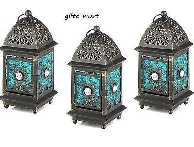8 BLUE Moroccan Marrakech gem caravan Lantern Candle holder wedding centerpiece